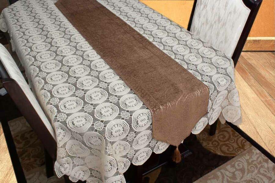 Table Runner Medium Size Brown Motif Velvet Pattern - Balooworld