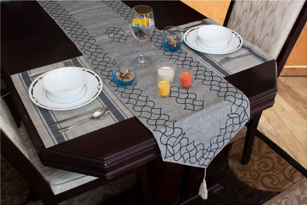 Table Runner Small Size Grey Jute With Embroidery - Balooworld