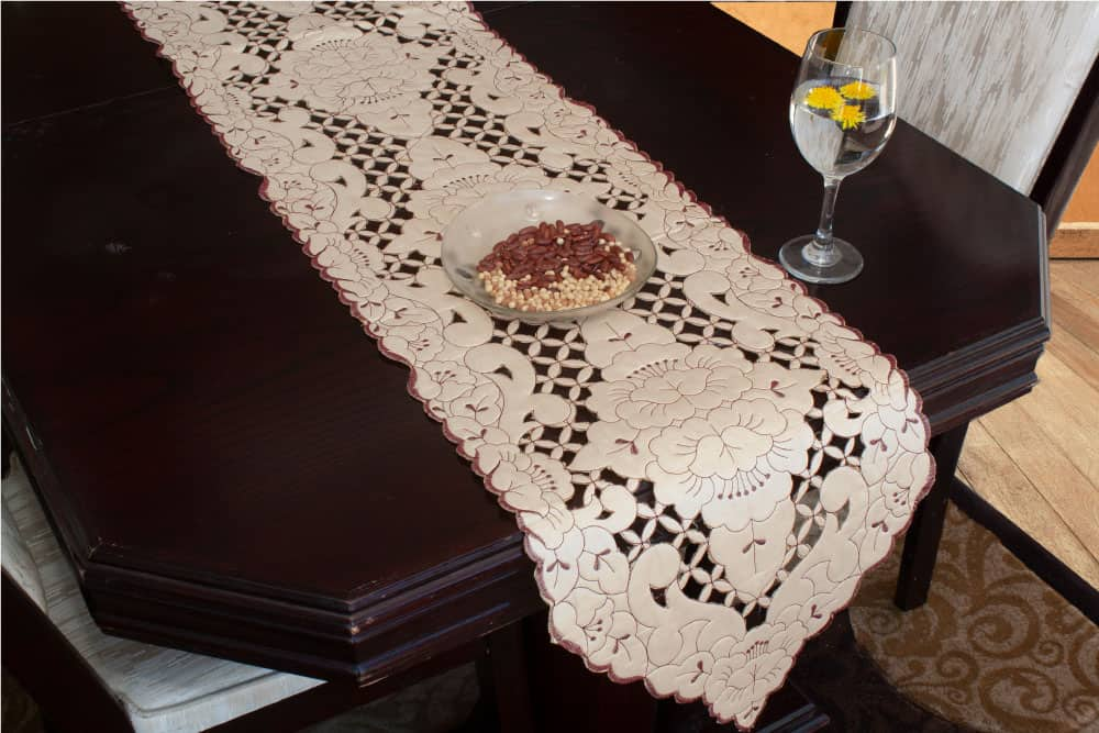 Table Runner Small Size Cut Work Embroidery - Balooworld