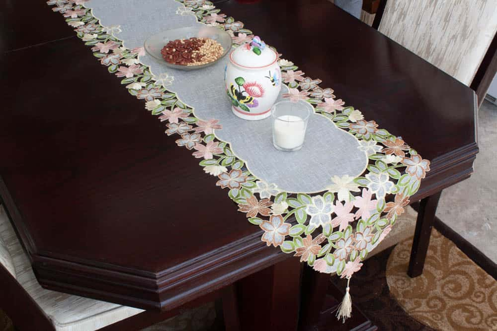 Table Runner Small Size Cut Work Embroidery On Tissue - Balooworld