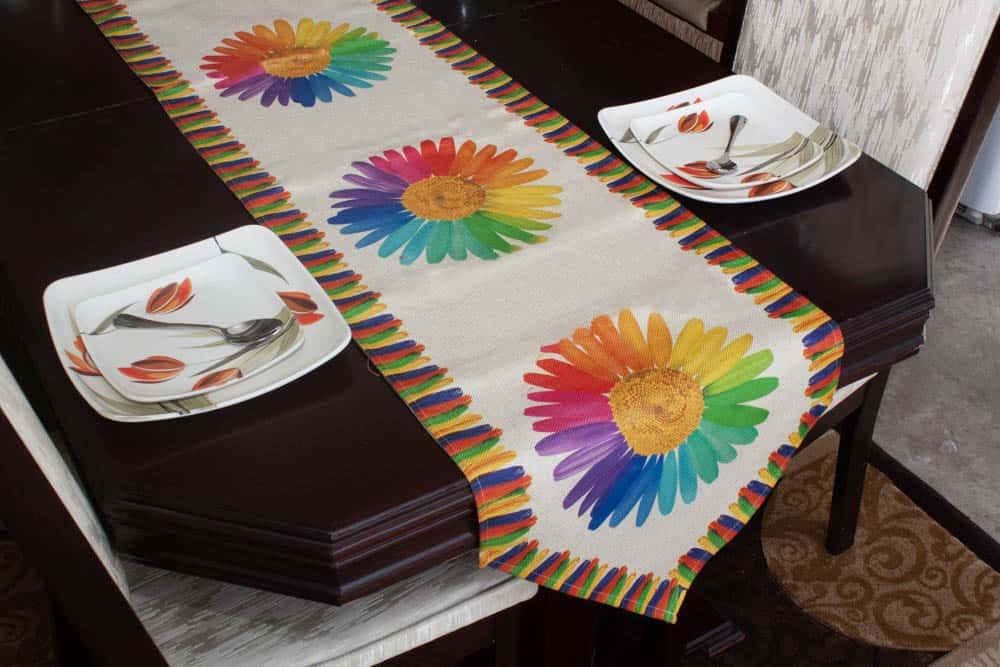Table Runner Large Size Colorfull Sunflower On Jute - Balooworld