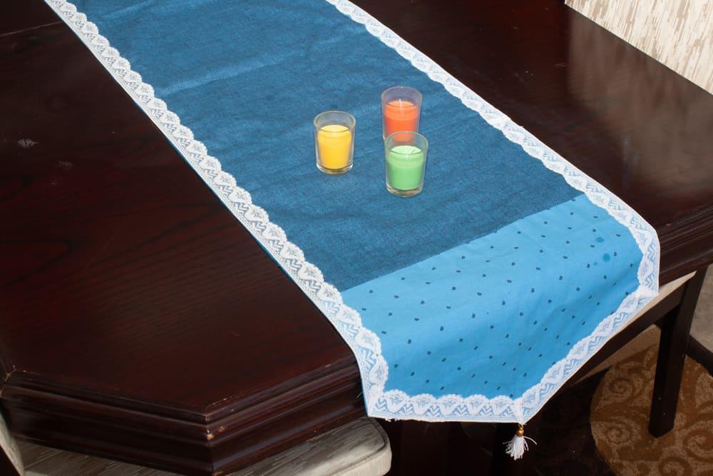Table Runner Medium Size Denim Blue Cotton - Balooworld