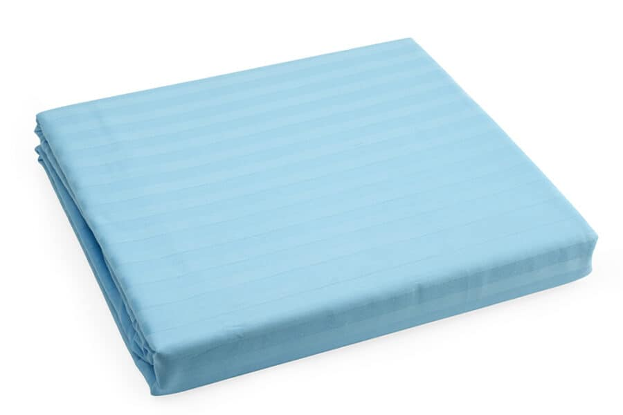 Bed Sheet Queen Size Blue Silk Satin Stripes - Balooworld