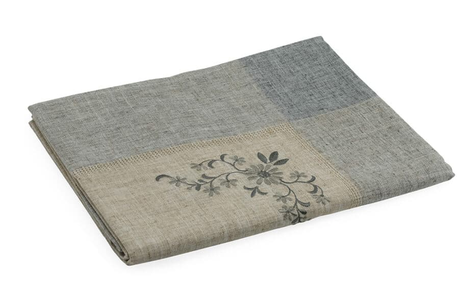 Beige embroidery linen polyester Table Cloth balooworld.ca