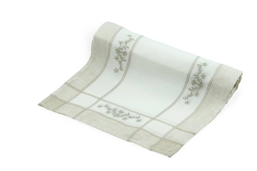 Embroidery White linen polyester Table Runner - balooworld.ca