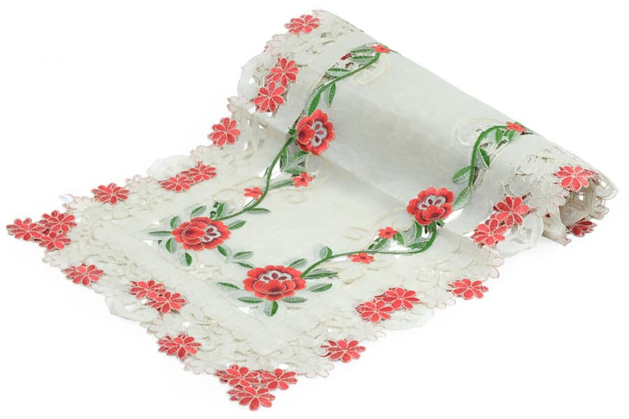 Red Floral Cutwork Table Runner Side View - balooworld.ca