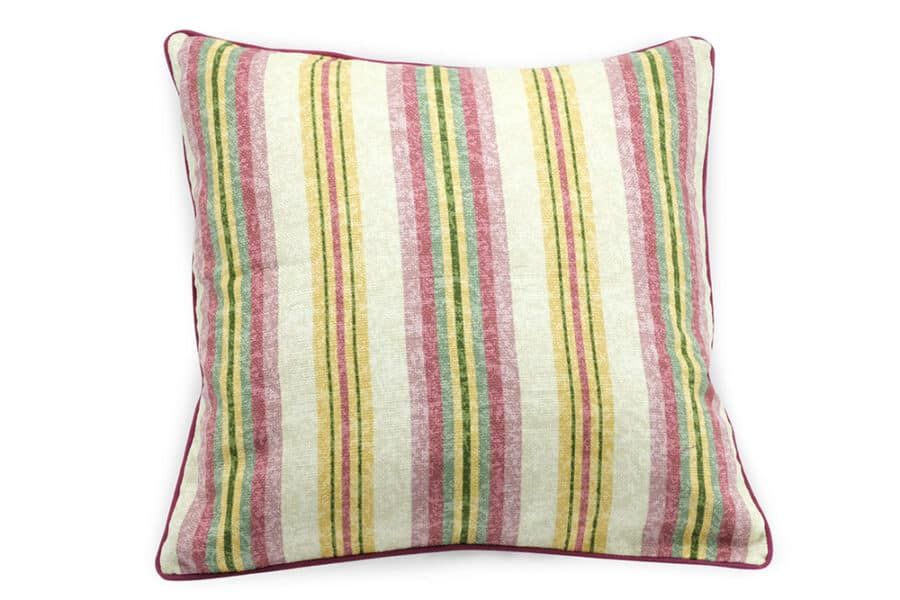 colorfull stripes on jute cushion cover - balooworld.ca