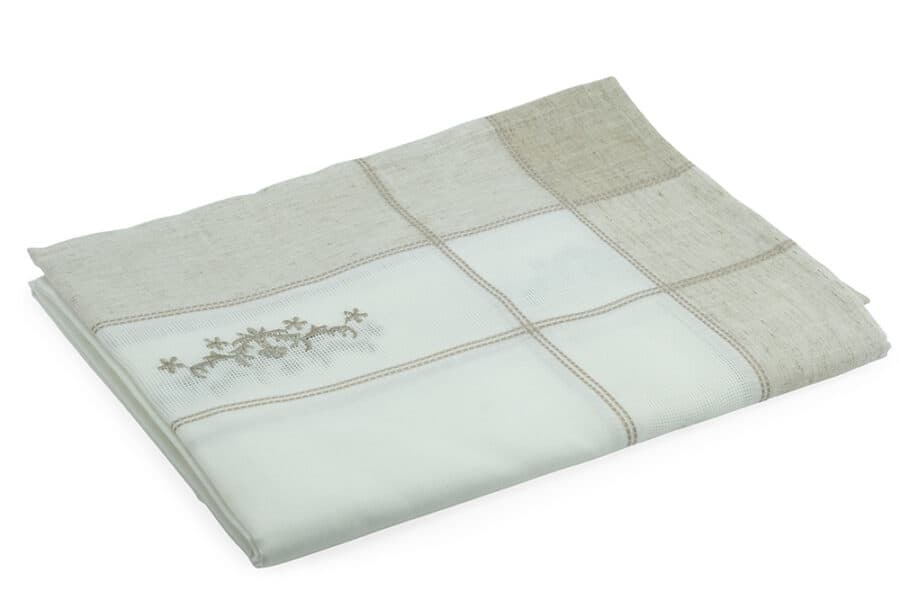 white embroidery linen polyester Table Cloth - balooworld.ca
