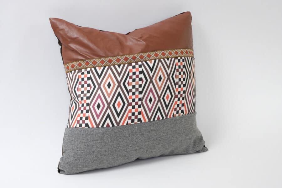 tribal cushion with faux leather band cushion balooworld - cushion